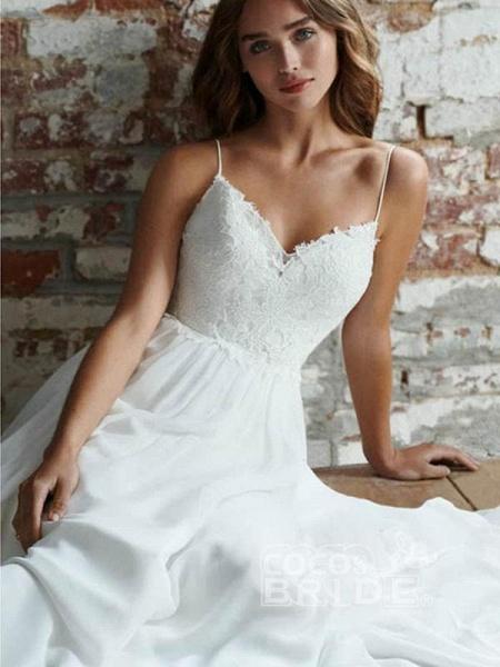 Beautiful Spaghetti Strap Backless Tulle Wedding Dresses_3