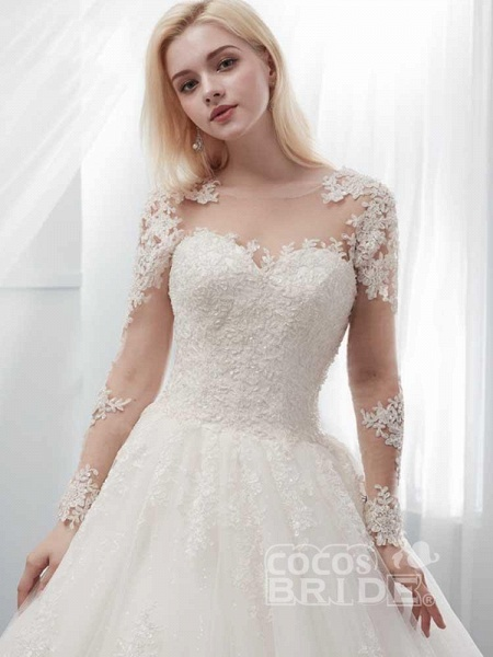 Long Sleeves Lace Ball Gown Wedding Dresses_4