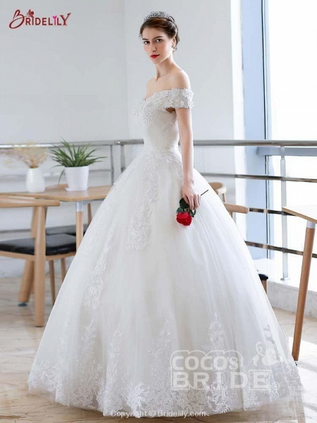 Off-the-Shoulder Lace-up Ball Gown Wedding Dresses_2