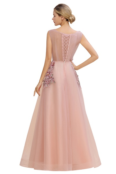 Gorgeous Dusty Pink Tulle Long Lace Appliques Prom Dress_9
