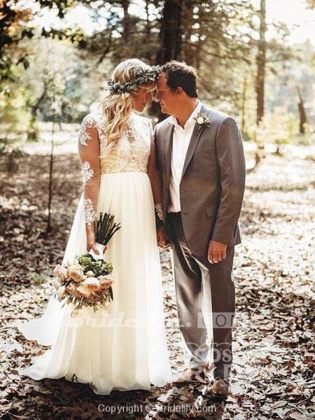 Beach Boho Wedding Dresses with Long Sleeve_10