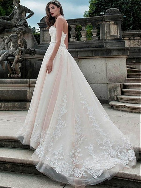 Glamorous Sweetheart Tulle A-Line Lace Wedding Dresses_1