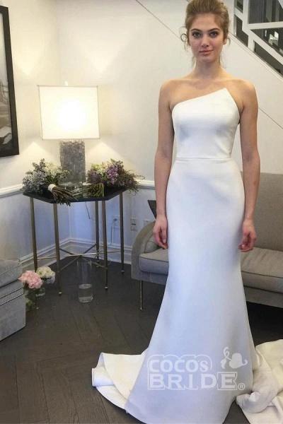 Simple Strapless Mermaid Long Elegant Ivory Sweep Train Wedding Dress_3