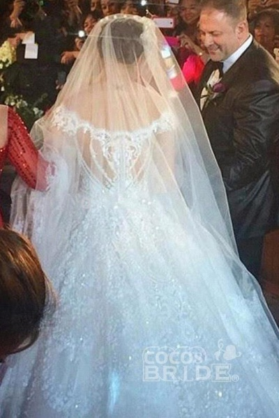 Gorgeous Off the Shoulder Puffy Princess Lace Wedding Dress_2