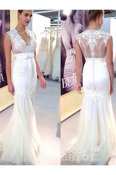 Chic Applique Tulle V-neck Sleeveless Mermaid Wedding Dress_2