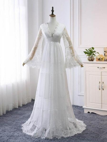 Elegant Long Sleeves V-Neck Tulle Wedding Dresses_1
