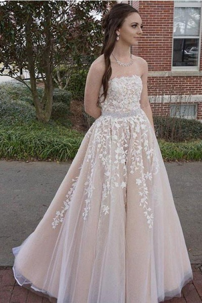 Custom-made Lace Appliques Tulle Long Wedding Dress_1