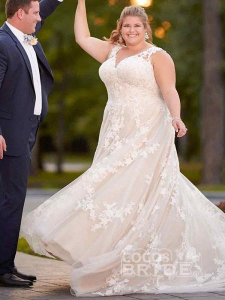 Gorgeous V Neck Appliques Lace Bowknot Tulle Wedding Dresses_3