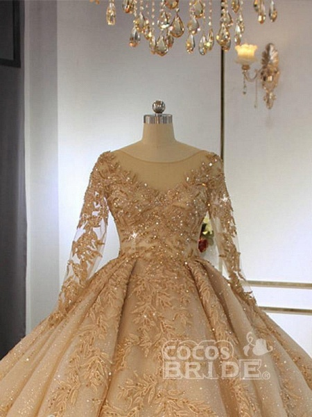 Long Sleeves O-Neck Ball Gown Wedding Dresses with Long Train_2