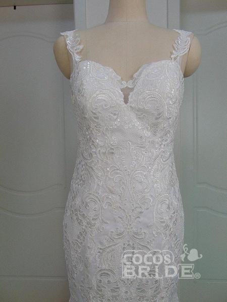 Unique Lace Appliques Mermaid Wedding Dresses_6