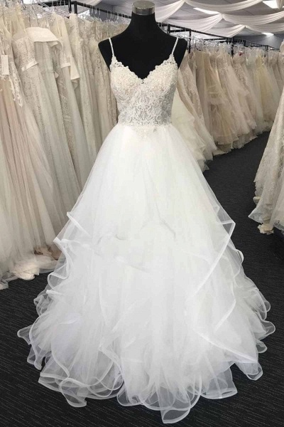 Sweetheart Neck Long Spaghetti Straps White Lace Wedding Dress_1