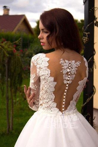 Boho Puffy Tulle Lace Long Sleeves Wedding Dress_4
