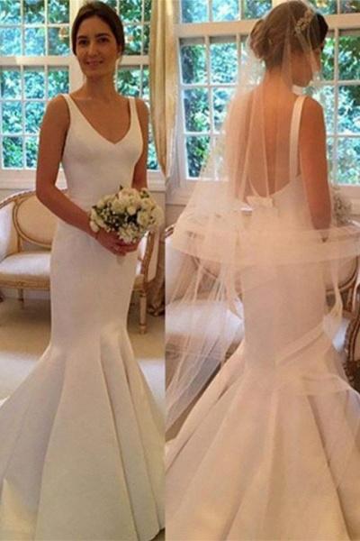 Newest Mermaid V-neck Sleeveless Simple Backless Wedding Dress_1