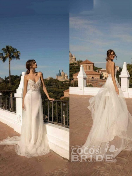Spaghetti Straps Backless Tulle Wedding Dresses_3