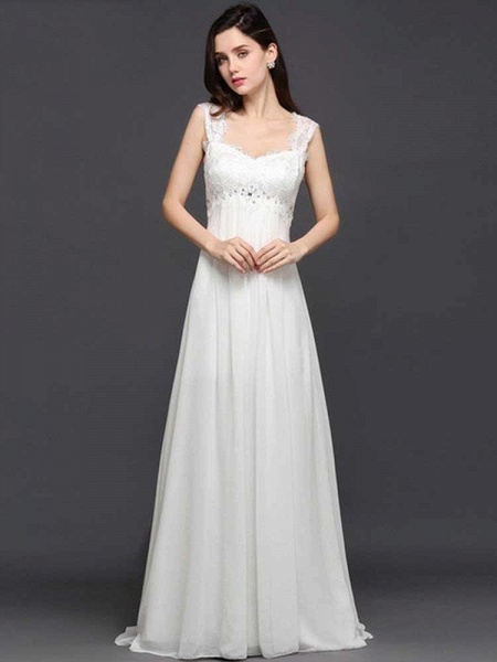 Elegant Square Beaded Ruffles Wedding Dresses
