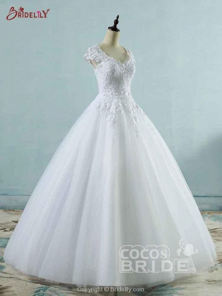 Lace White Cap Sleeves Ball Gown Tulle Wedding Dresses_3