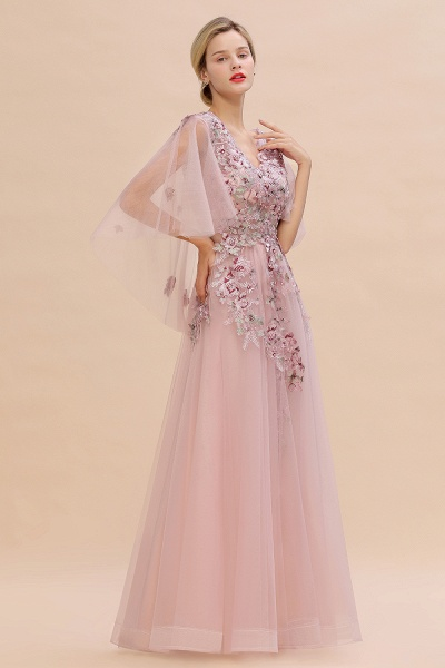 Dusty Pink Tulle Short Sleeve Long Prom Dress_7