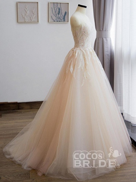 Elegant Lace A-Line Tulle Wedding Dresses_3