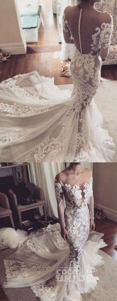 Pretty Mermaid Lace Appliques Long Sleeves Sheer Tulle Wedding Dress_5