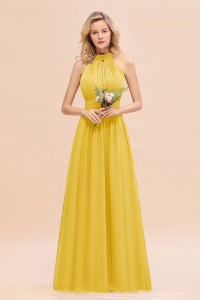 BM0758 Glamorous High-Neck Halter Bridesmaid Affordable Dresses with Ruffle_17