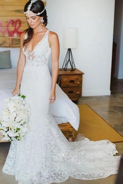 Romantic Deep V Neck Sleeveless Lace Mermaid Wedding Dress_1