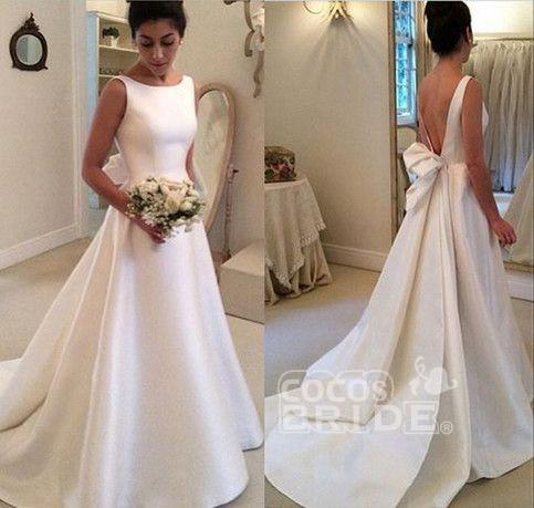 Classic Satin A Line Long Backless Wedding Dress_3