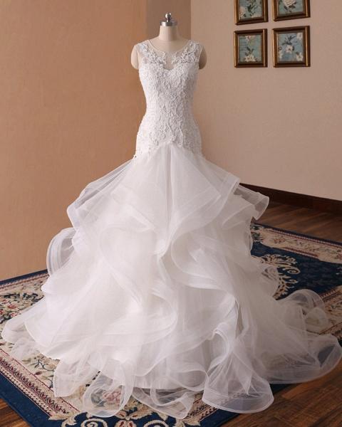 White Lace Ruffled Long Corset Bridal Mermaid Wedding Dress_3