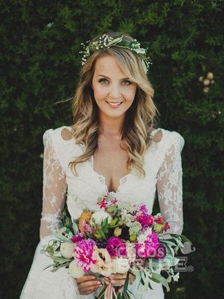 Modest Long Sleeves Lace Illusion Boho Mermaid Wedding Dresses_3