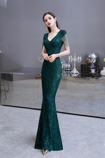 Elegant Cap Sleeve Green Sequins Long Prom Dress_9