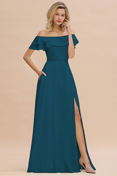 BM0775 Off-the-Shoulder Front Slit Mint Green Long Bridesmaid Dress_27