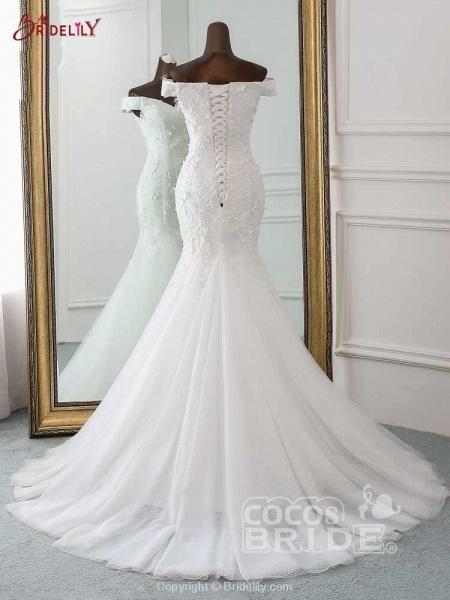 New Style Flower Lace Mermaid Ruffles Wedding Dresses_4