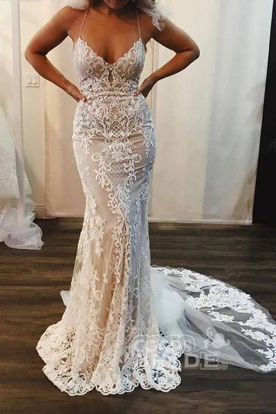 Spaghetti Strap Mermaid Lace Applique Long Train Wedding Dress_2