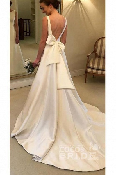 Classic Satin A Line Long Backless Wedding Dress_2