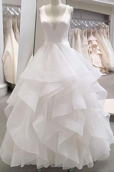 White Tulle Ruffles V Neck Lace Up Wedding Dress_1