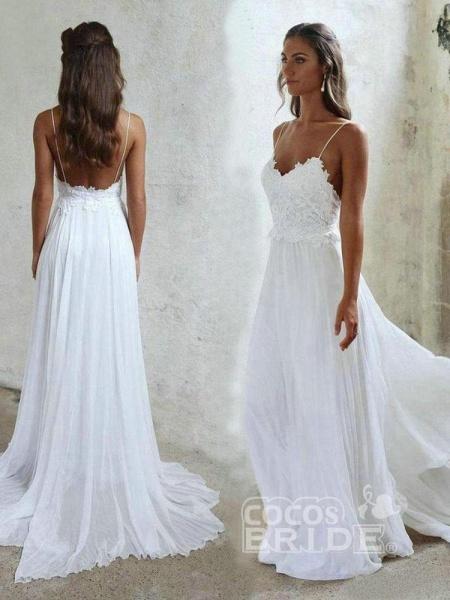 Elegant Spaghetti-Strap Appliques Chiffon Wedding Dresses_3