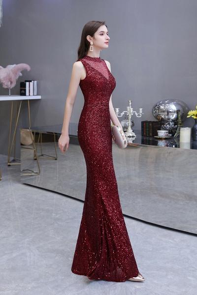 Gorgeous Mermaid Burgundy Sequins Long Prom Dress_13