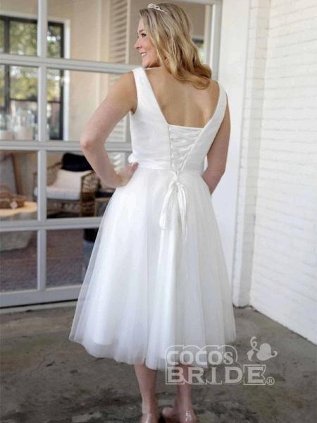 Elegant V-Neck Sleeveless Tea Length Lace Up Short Wedding Dresses_2