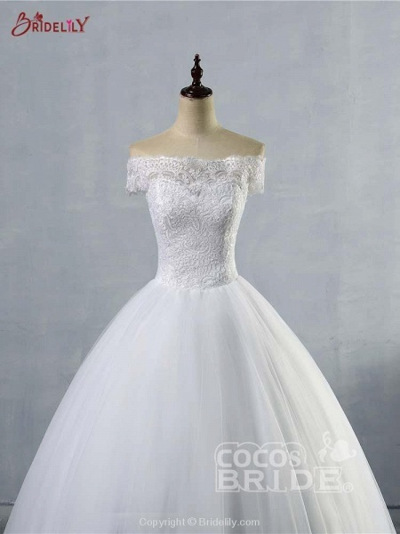 New Lace Off-The-ShouldeR Ball Gown Tulle Wedding Dresses_4
