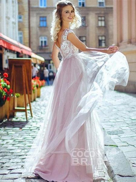 Romantic Off- the-Shoulder Lace Appliques A-Line Wedding Dresses_3