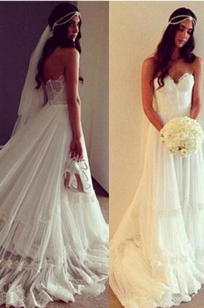 Chic Boho Beach Sweetheart Lace A Line Wedding Dress_1