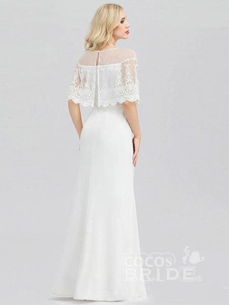 Modest O-Neck Zipper Floor-Length Mermaid Wedding Dresses_2