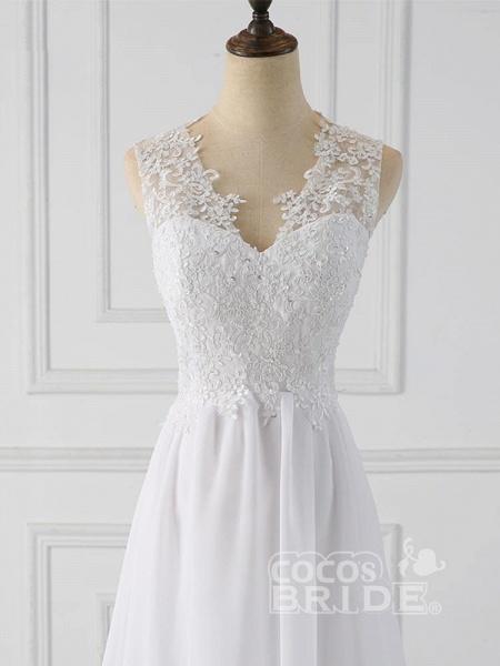 Elegant V-Neck Sleeveless Covered Button Ruffles Wedding Dresses_5
