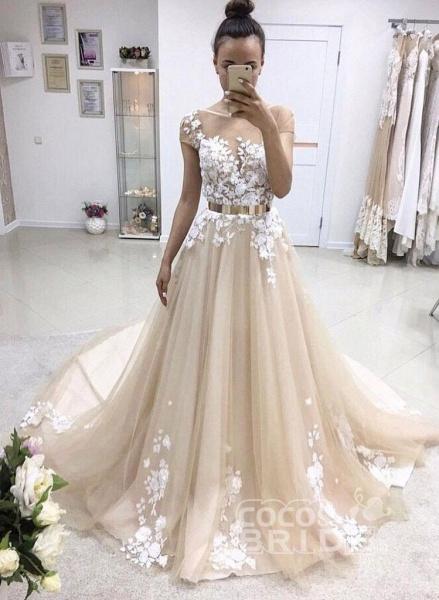 A-line Bateau Lace Appliqued Gold Sash Short Sleeves Wedding Dress_2