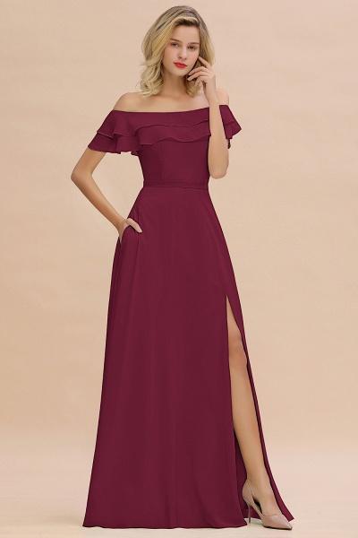 BM0775 Off-the-Shoulder Front Slit Mint Green Long Bridesmaid Dress_44
