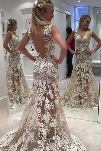 Ivory Sheer Back Jewel Neck Trumpet/Mermaid Lace Tulle Long Wedding Dress_1