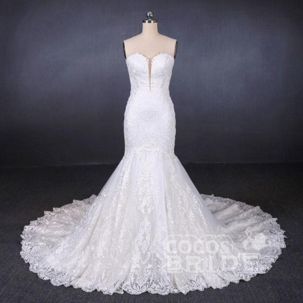 Sweetheart Long Strapless Mermaid Lace Wedding Dress_5