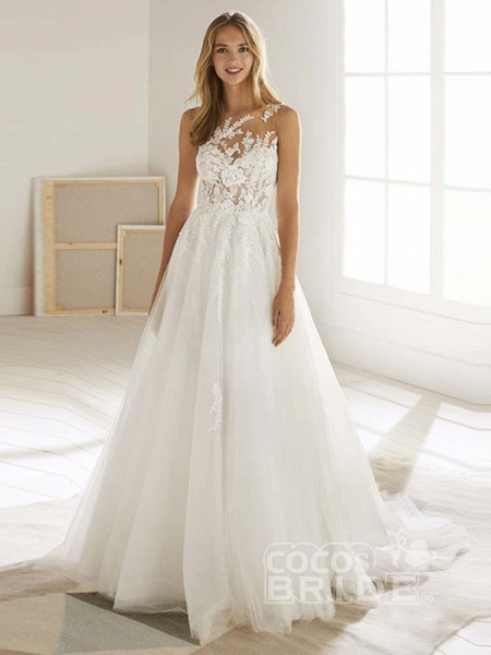 Romatic Lace Tulle Wedding Dresses_6