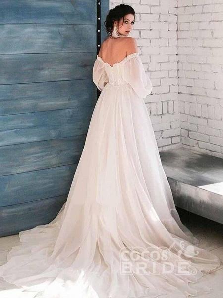 Glamorous A-Line Ruffles Long Sleeve Wedding Dresses_2
