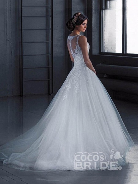Glamorous Lace Tulle Ball Gown Wedding Dresses_2