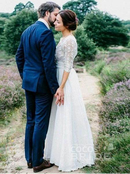 Romantic V Neck Chiffon Lace A Line Wedding Dresses_4